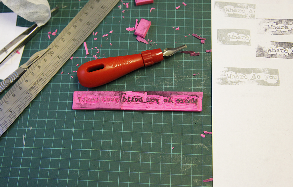 Carving Text Rubber Stamp