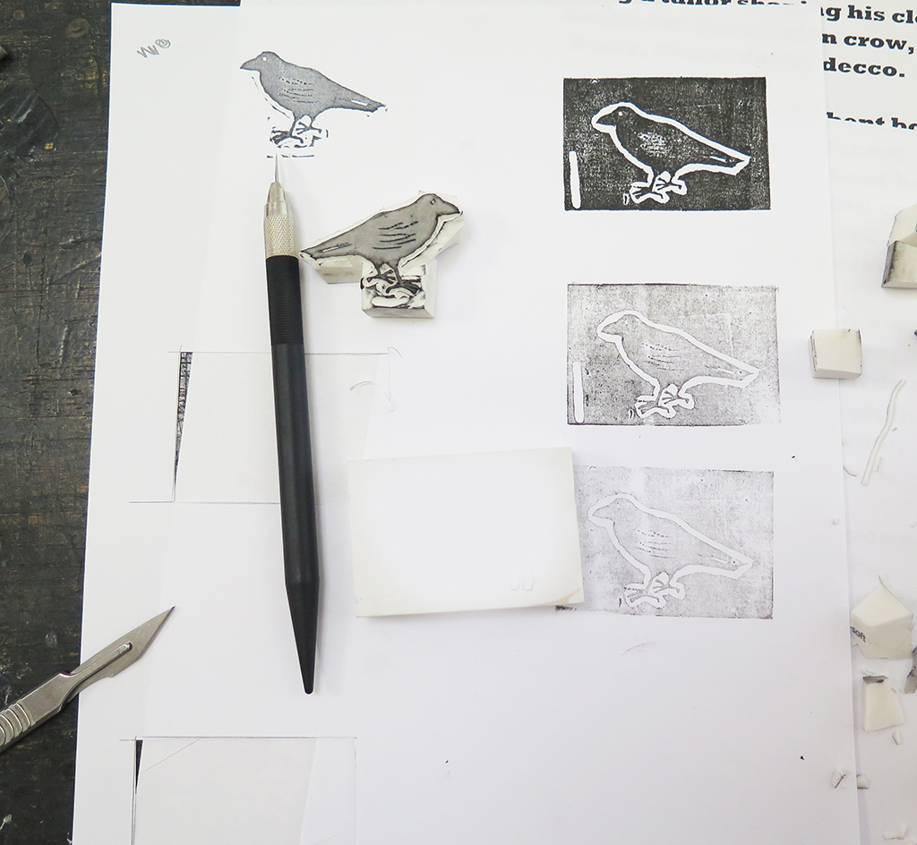 Hand Carved Crow Rubber Stamp